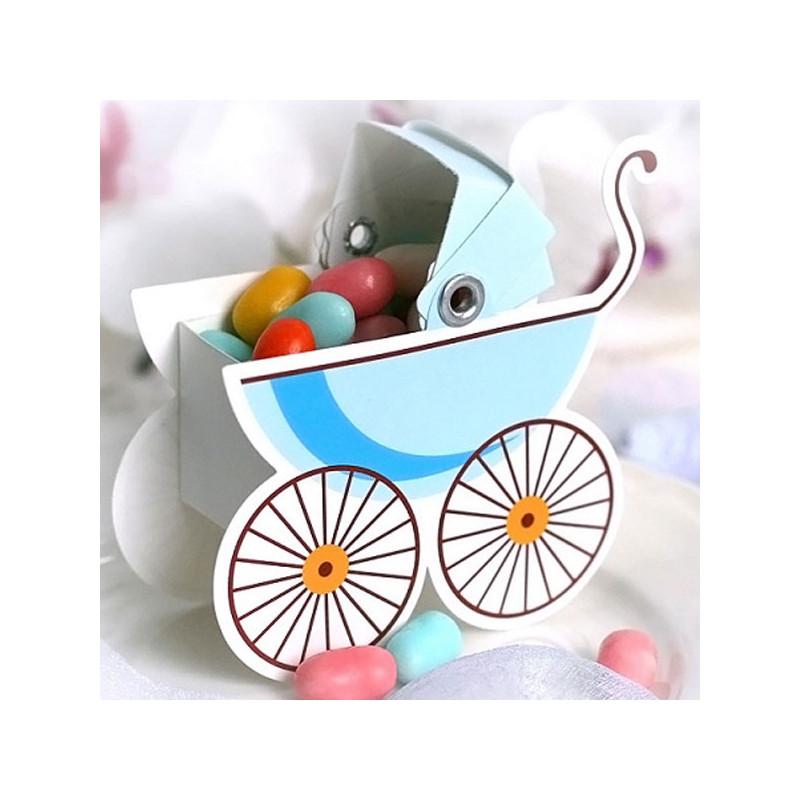 Baby Shower Presentaskar Barnvagn Blå