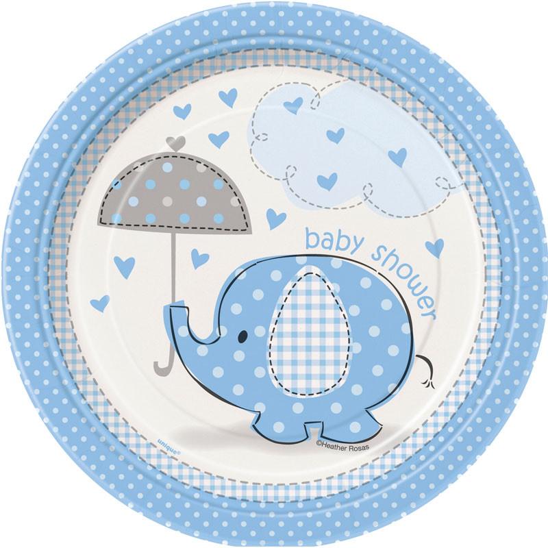 Baby Shower Boy Assietter Umbrellaphant
